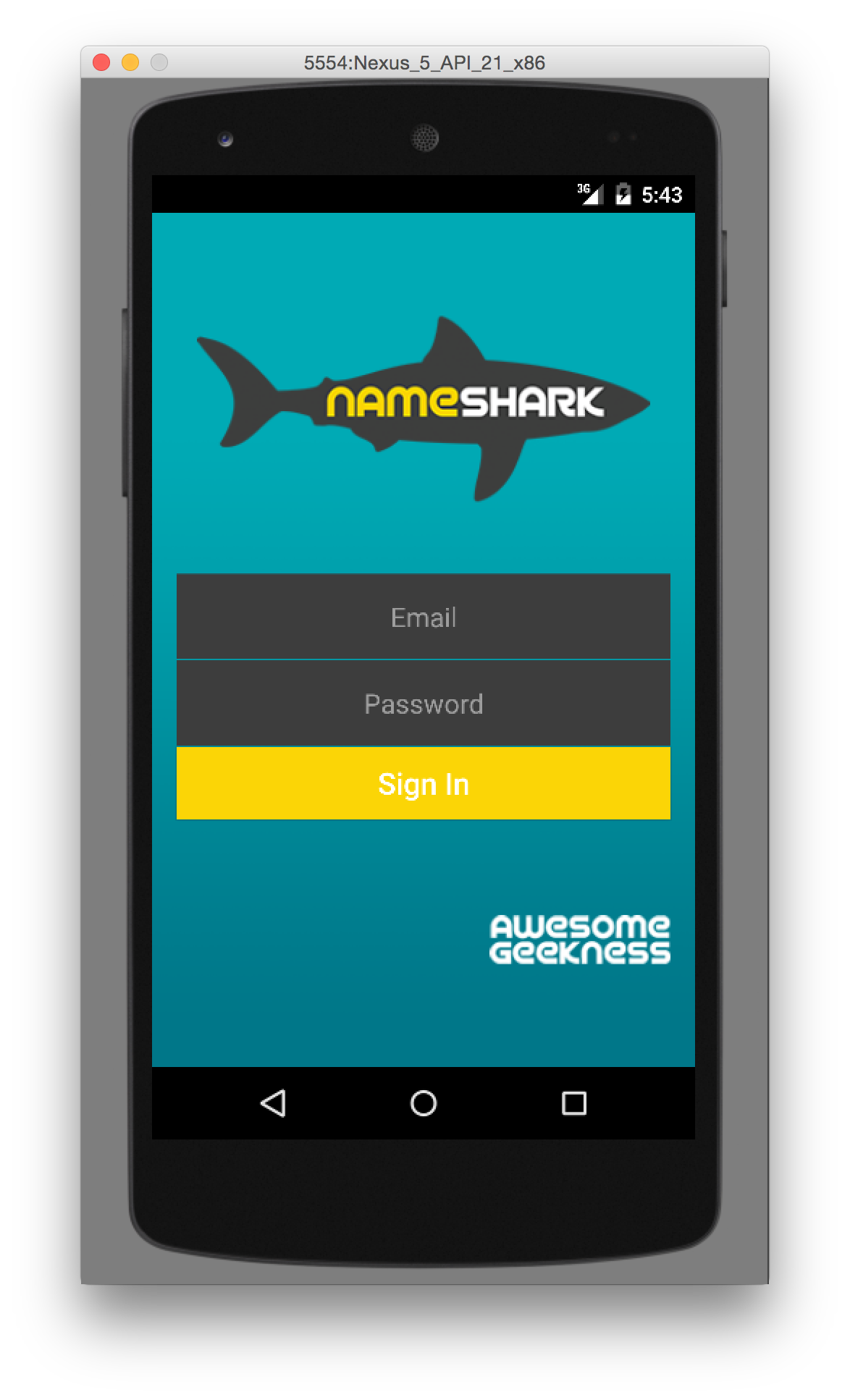 Name Shark Login on Android